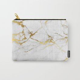 White gold marble Carry-All Pouch