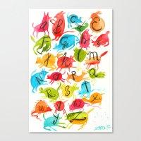 alphabet Canvas Prints featuring Alphabet by zuzia turek