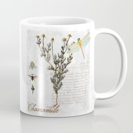 Chamomile Herb, Dragonfly Bumble Bee Botanical painting, Cottage style Coffee Mug