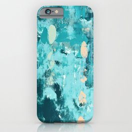 020: a vibrant abstract design in teal and peach by Alyssa Hamilton Art  iPhone Case