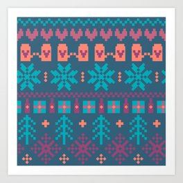 Fair Isle Christmas Art Print
