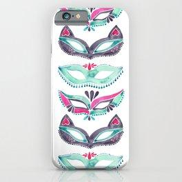 Masquerade Mask Trio – Pink & Mint Palette iPhone Case