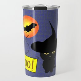 Cute cat trying to be scary for Halloween Travel Mug