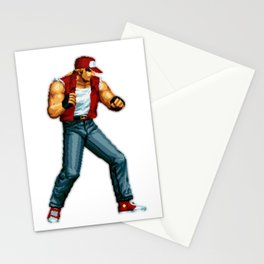 Terry Bogard pixel art Retrogaming Mine Craft Style Stationery Cards