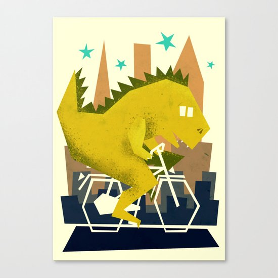 Godzilla going to town Canvas Print