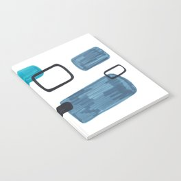 Mid Century Modern Abstract Minimalist Art Colorful Shapes Vintage Retro Style Turquoise Blue Grey Notebook