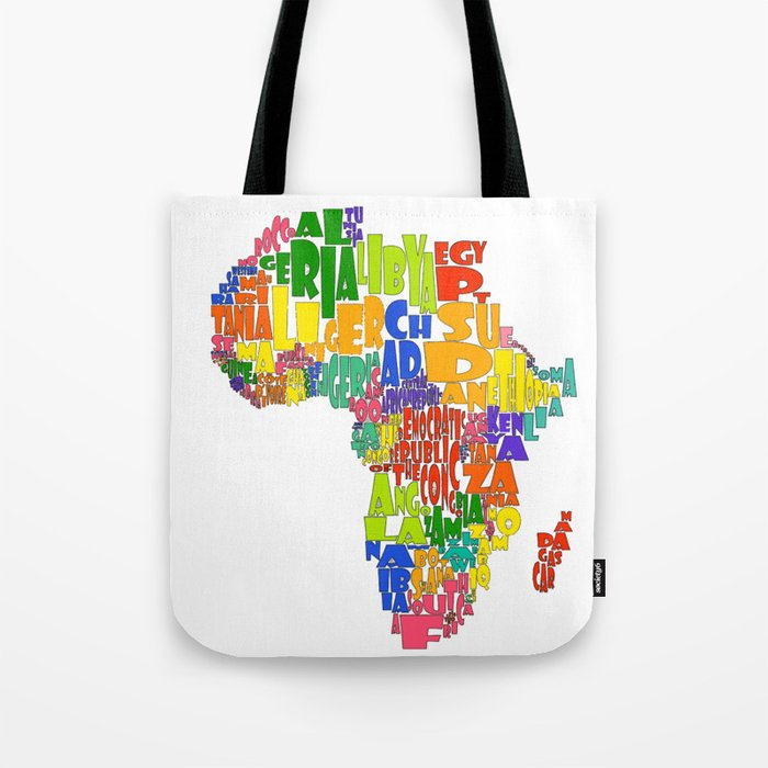African Continent Cloud Map Tote Bag