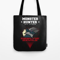 monster hunter Tote Bags featuring Monster Hunter All Stars - Howling Devils by Bleached ink