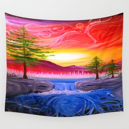 Sky Tree and River Nature Faces ~ Live Painting- wildlight/tpa Wall Tapestry