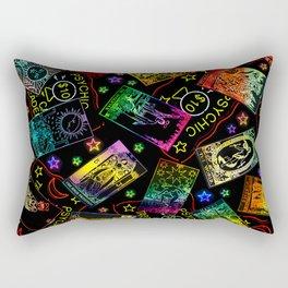 Neon Tarot Cards Psychic Reading Rectangular Pillow