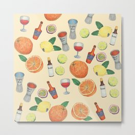 cocktail recipe pattern _ zombie Metal Print