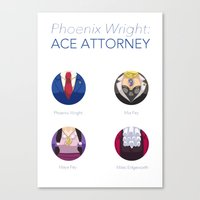 ace attorney Canvas Prints featuring Phoenix Wright: Ace Attorney by PlalligatorDraws