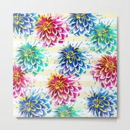 Colorful Dahlias Metal Print
