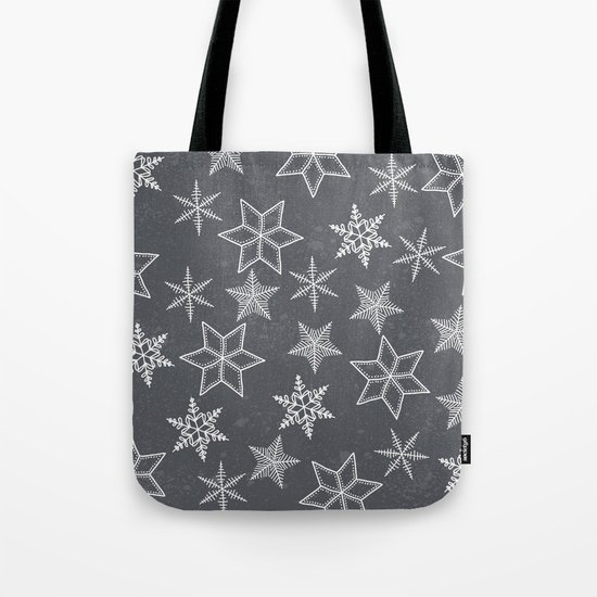Snowflakes on grey background Tote Bag
