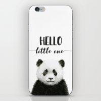 Panda Art Print Baby Animals Hello Little One Nursery Decor iPhone & iPod Skin
