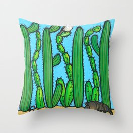 RESIST - armadillo, cactus wren, scorpion on THE WALL Throw Pillow