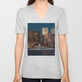 Boston skyline and cruise Unisex V-Neck