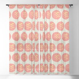 Coral and Gold Bird Stamp on Tan Sheer Curtain