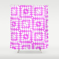 Pink And WHite abstract pattern Shower Curtain
