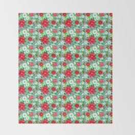 Christmas Poinsettia Rose Holly Floral, red rose, holly, holiday flowers, christmas flowers, holiday Throw Blanket
