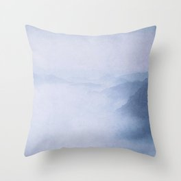 Sacred Cove Shrouded in Blue Mist Throw Pillow