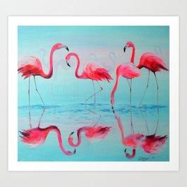 Flamingo at sunset Art Print
