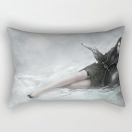 Gunslinger - Badass girl with gun in the snow Rectangular Pillow
