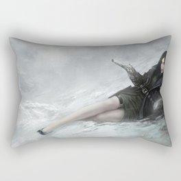 Gunslinger - Badass girl with gun in the snow Rectangular Pillow
