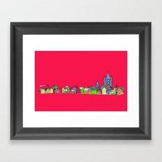 Sketchy Town in pink Framed Art Print