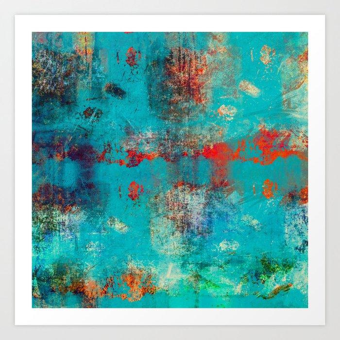 Aztec Turquoise Stone Abstract Texture Design Art Art Print