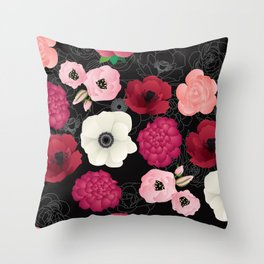 Black & Pink Flowers Midnight Throw Pillow