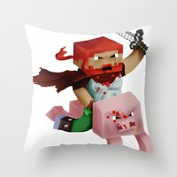 gore Throw Pillows featuring Hoojo of Minecraftia - Gore Edition by Angry Adventure