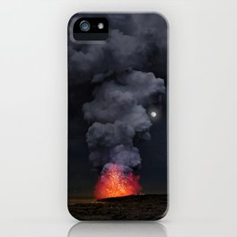 Moon Over Kilauea Volcano at Kalapana iPhone Case