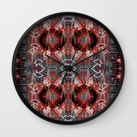 ikat Wall Clocks featuring Ikat by Sofia Perina-Miller