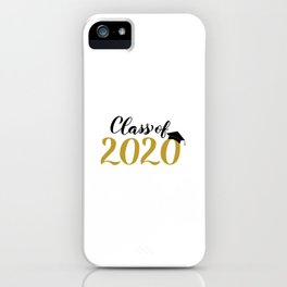 Class of 2020 lettering with graduation hat. Congratulations to graduates.  iPhone Case