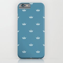 White Crown pattern on Blue background iPhone Case