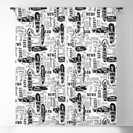 Gamer Lingo-White and Black Blackout Curtain
