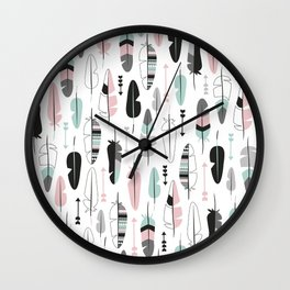 Arrows and feathers summer pattern Wall Clock