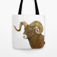 ram Tote Bags featuring Ram by Jan Elizabeth