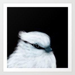 White Bird Black Background #decor #society6 #buyart Art Print