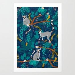 Lemurs on Blue Art Print