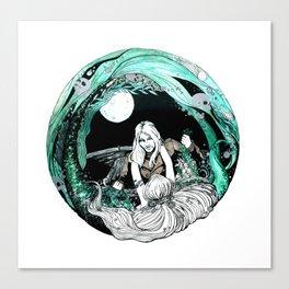 La sirena y el pescador Canvas Print