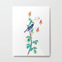 Blue Birds & Pastel Turquoise Leaves Metal Print