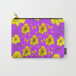 YELLOW AMARYLLIS FLOWERS & BUTTERFLIES PURPLE ART Carry-All Pouch