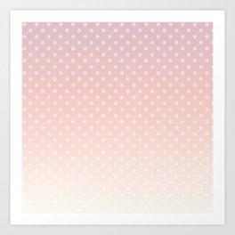 Coral polka dot ombre pattern Art Print