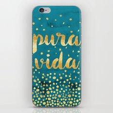Pura Vida Gold on Teal iPhone & iPod Skin