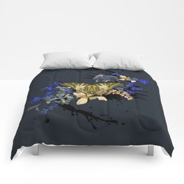 Blue Butterfly Vintage by Black Jungle Comforters