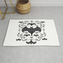 Bats and Filigree - Black and White Rug