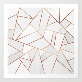 White Stone & Copper Lines Art Print