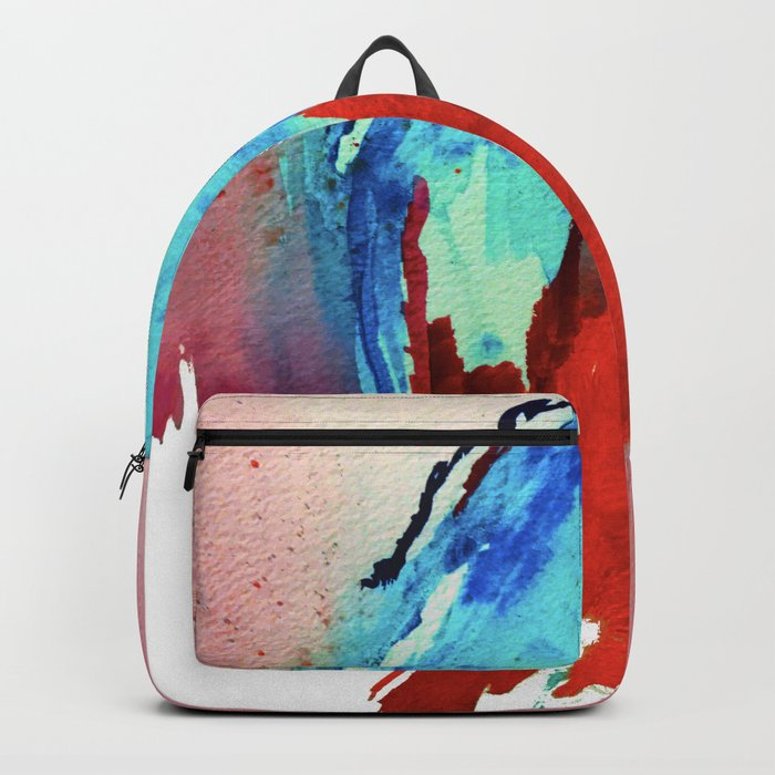 Ice and Fire: a vibrant, colorful, mixed media piece in pinks, blues, and red Backpack